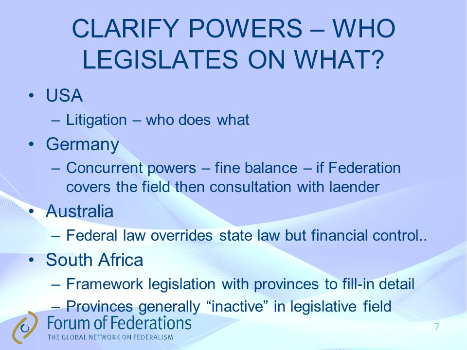 CLARIFY POWERS – WHO LEGISLATES ON WHAT.