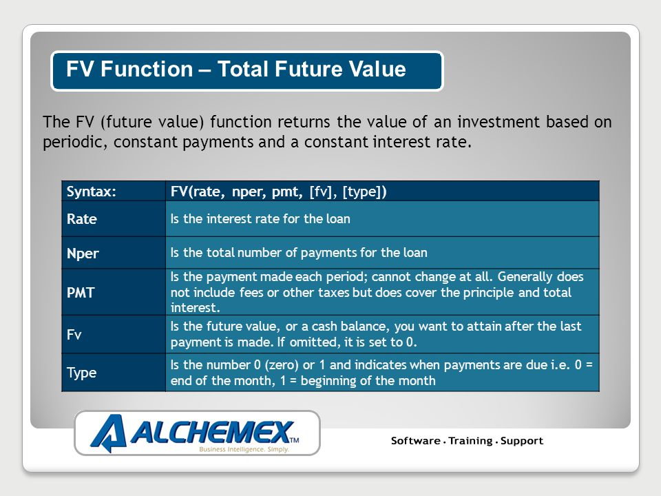 The FV (future value) function returns the value of an investment based on periodic, constant payments and a constant interest rate.