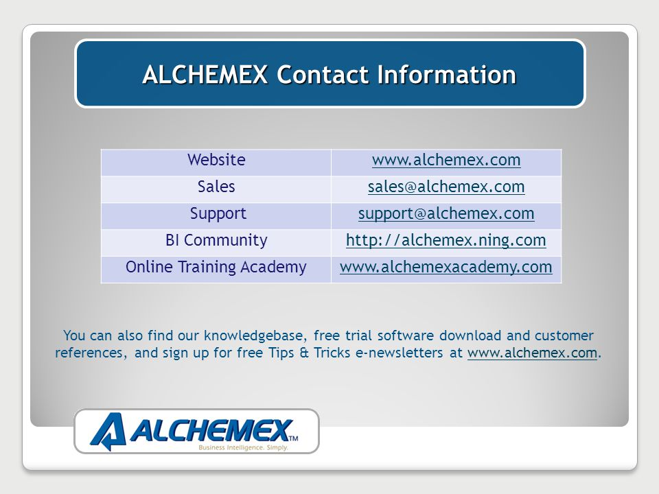 If you have found this Webinar useful, see our Webinar Schedule at www.alchemex.com and register for more.www.alchemex.com Thank you for your time and have a great day!