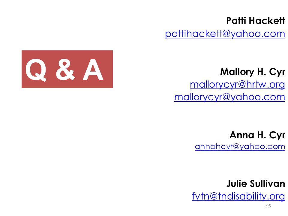 Patti Hackett pattihackett@yahoo.com Mallory H.