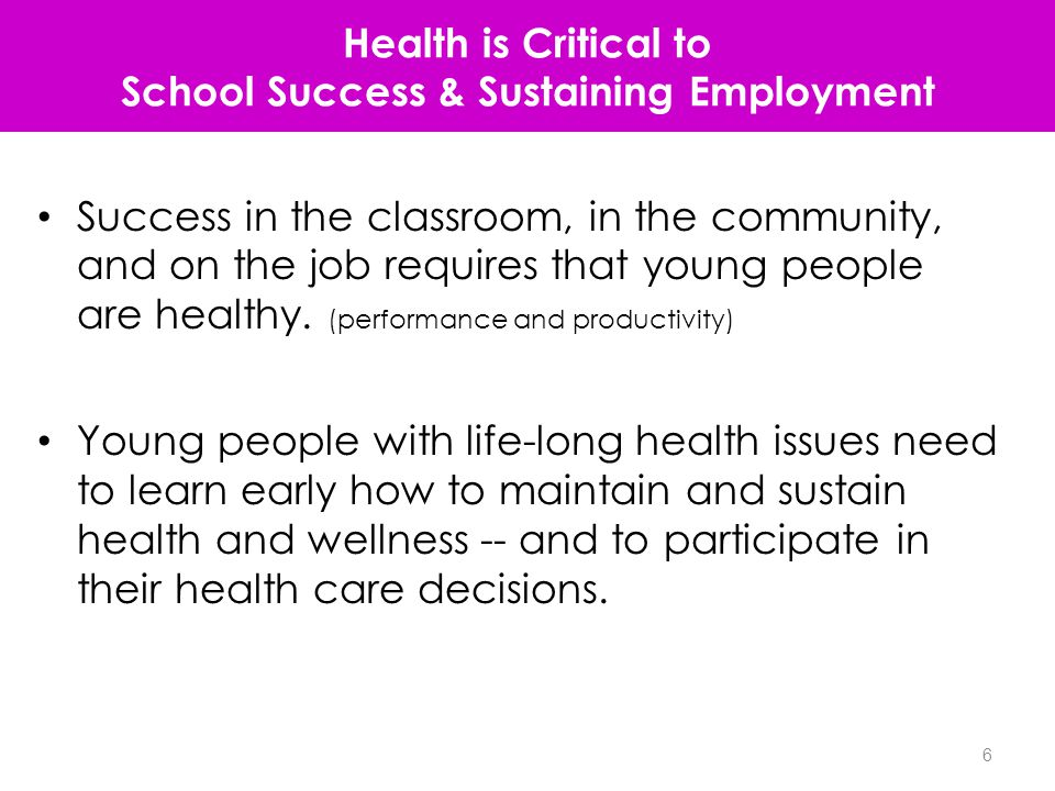 Outcome #6: Youth with special health care needs who receive the services necessary to make appropriate transitions to adult health care, work and independence -- CSHCN ages 12-17 only (derived) Outcome not achieved Outcome successfully achieved - 58.8+ 41.2 7