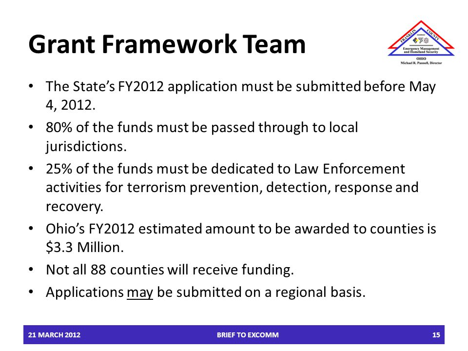 Grant Framework Team The State's FY2012 application must be submitted before May 4, 2012.