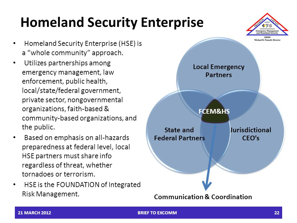 Homeland Security Enterprise Homeland Security Enterprise (HSE) is a whole community approach.
