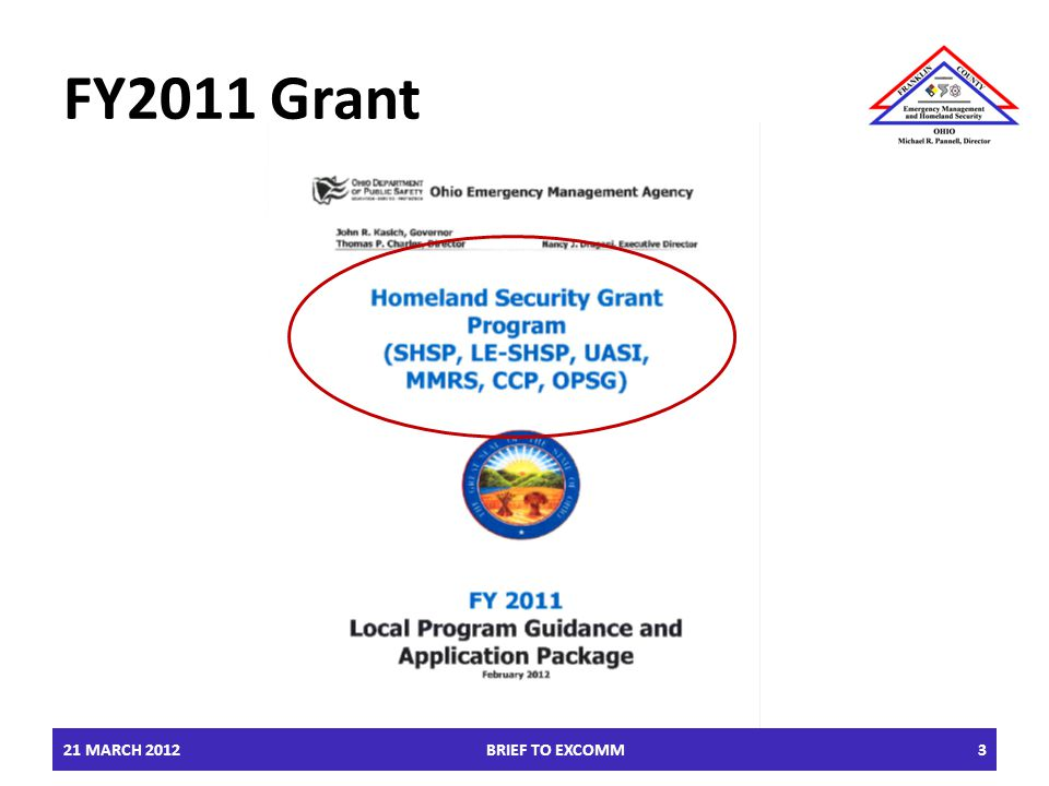 FY2011 Grant 21 MARCH 2012BRIEF TO EXCOMM3