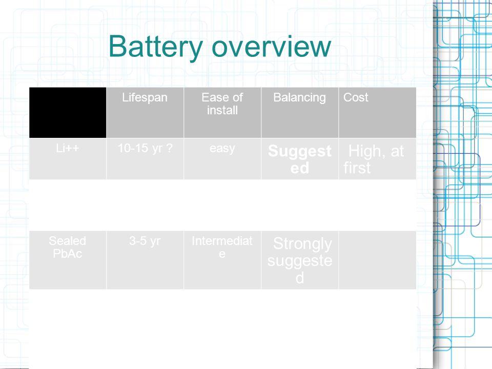 Battery type logic tree