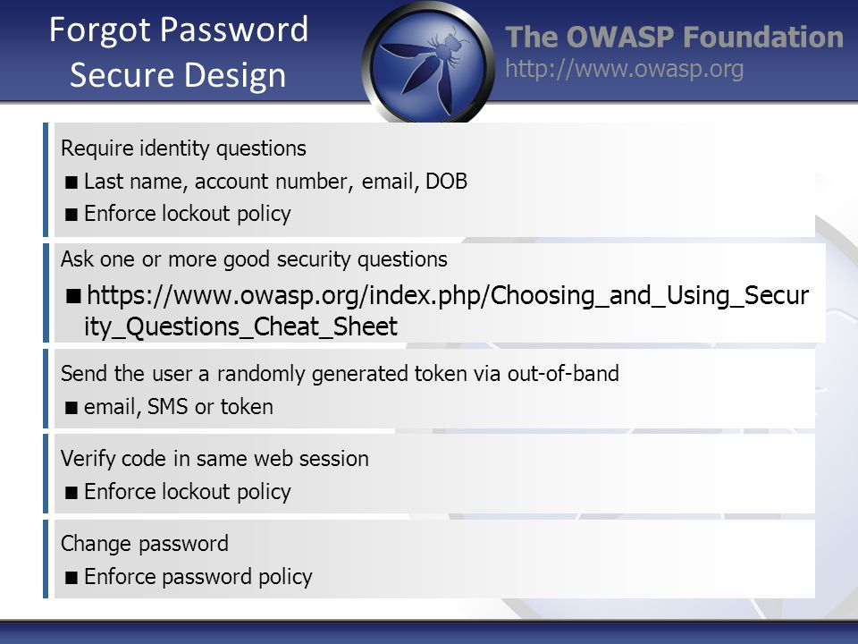 The OWASP Foundation http://www.owasp.org Forgot Password Secure Design Require identity questions  Last name, account number, email, DOB  Enforce lockout policy Ask one or more good security questions  https://www.owasp.org/index.php/Choosing_and_Using_Secur ity_Questions_Cheat_Sheet Send the user a randomly generated token via out-of-band  email, SMS or token Verify code in same web session  Enforce lockout policy Change password  Enforce password policy