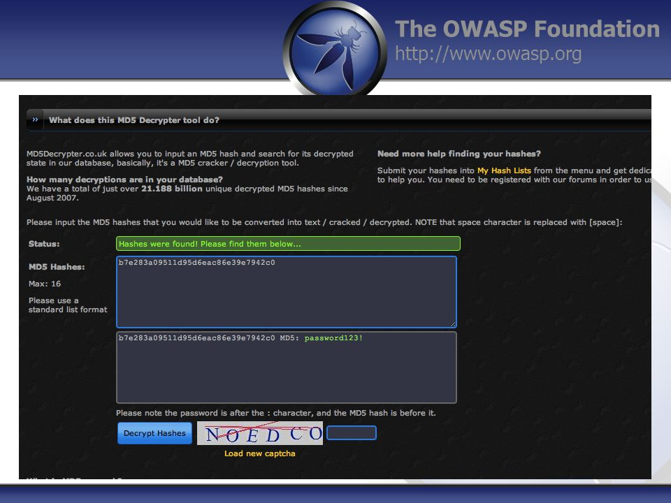 The OWASP Foundation http://www.owasp.org