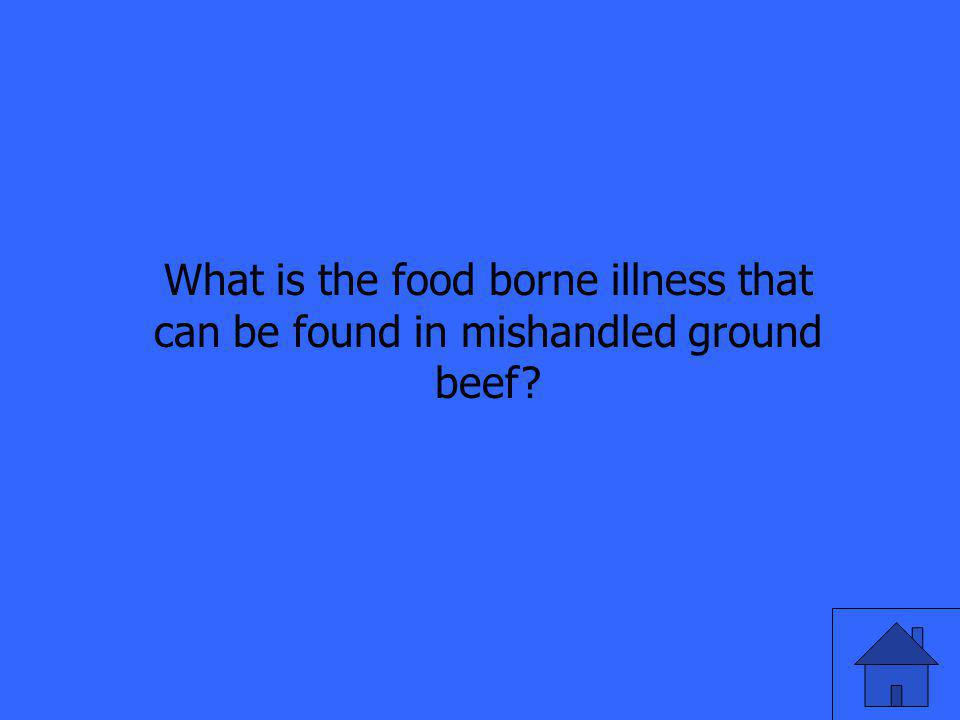 What is the food borne illness that can be found in mishandled ground beef?