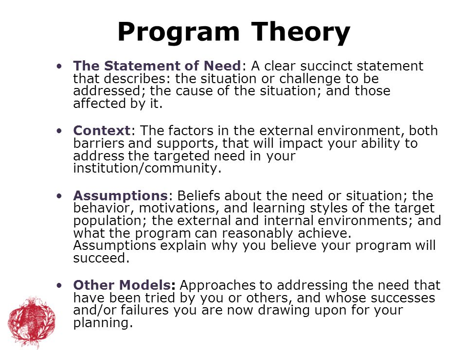 Program Theory The Statement of Need: A clear succinct statement that describes: the situation or challenge to be addressed; the cause of the situatio