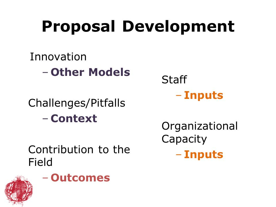 Proposal Development Staff –Inputs Organizational Capacity –Inputs Innovation –Other Models Challenges/Pitfalls –Context Contribution to the Field –Ou