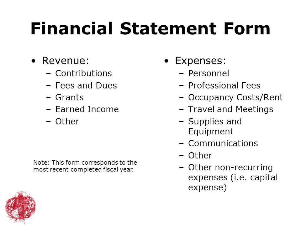 Financial Statement Form Revenue: –Contributions –Fees and Dues –Grants –Earned Income –Other Expenses: –Personnel –Professional Fees –Occupancy Costs