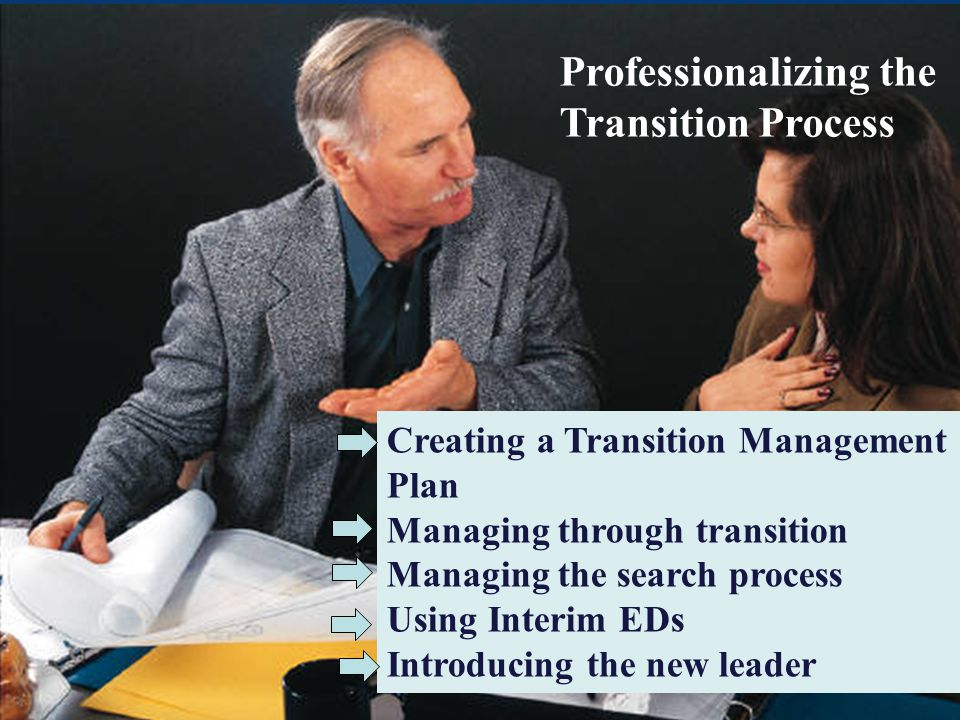 Professionalizing the Transition Process Creating a Transition Management Plan Managing through transition Managing the search process Using Interim E