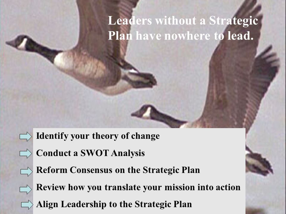 Leaders without a Strategic Plan have nowhere to lead. Identify your theory of change Conduct a SWOT Analysis Reform Consensus on the Strategic Plan R