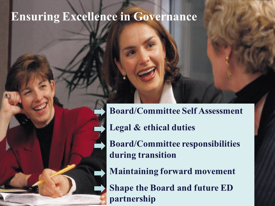 Ensuring Excellence in Governance Board/Committee Self Assessment Legal & ethical duties Board/Committee responsibilities during transition Maintainin