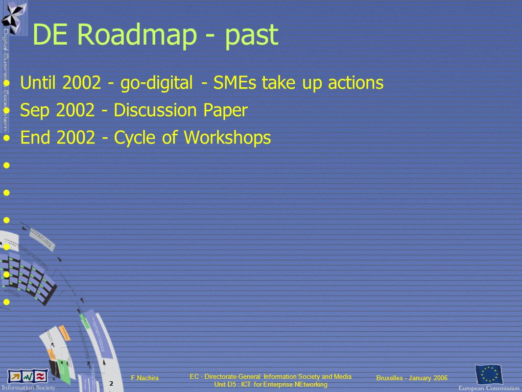 EC - Directorate-General Information Society and Media Unit D5 : ICT for Enterprise NEtworking F.NachiraBruxelles - January 2006 2 DE Roadmap - past Until 2002 - go-digital - SMEs take up actions Sep 2002 - Discussion Paper End 2002 - Cycle of Workshops