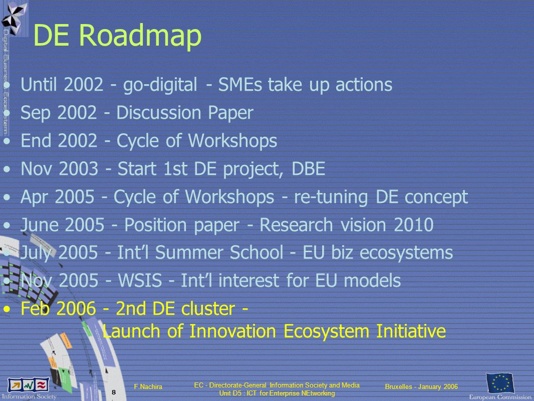 EC - Directorate-General Information Society and Media Unit D5 : ICT for Enterprise NEtworking F.NachiraBruxelles - January 2006 8 DE Roadmap Until 2002 - go-digital - SMEs take up actions Sep 2002 - Discussion Paper End 2002 - Cycle of Workshops Nov 2003 - Start 1st DE project, DBE Apr 2005 - Cycle of Workshops - re-tuning DE concept June 2005 - Position paper - Research vision 2010 July 2005 - Int'l Summer School - EU biz ecosystems Nov 2005 - WSIS - Int'l interest for EU models Feb 2006 - 2nd DE cluster - Launch of Innovation Ecosystem Initiative