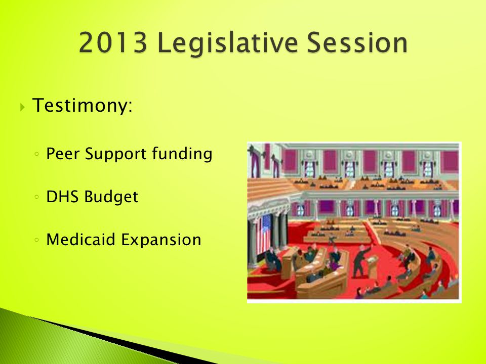 Testimony: ◦ Peer Support funding ◦ DHS Budget ◦ Medicaid Expansion