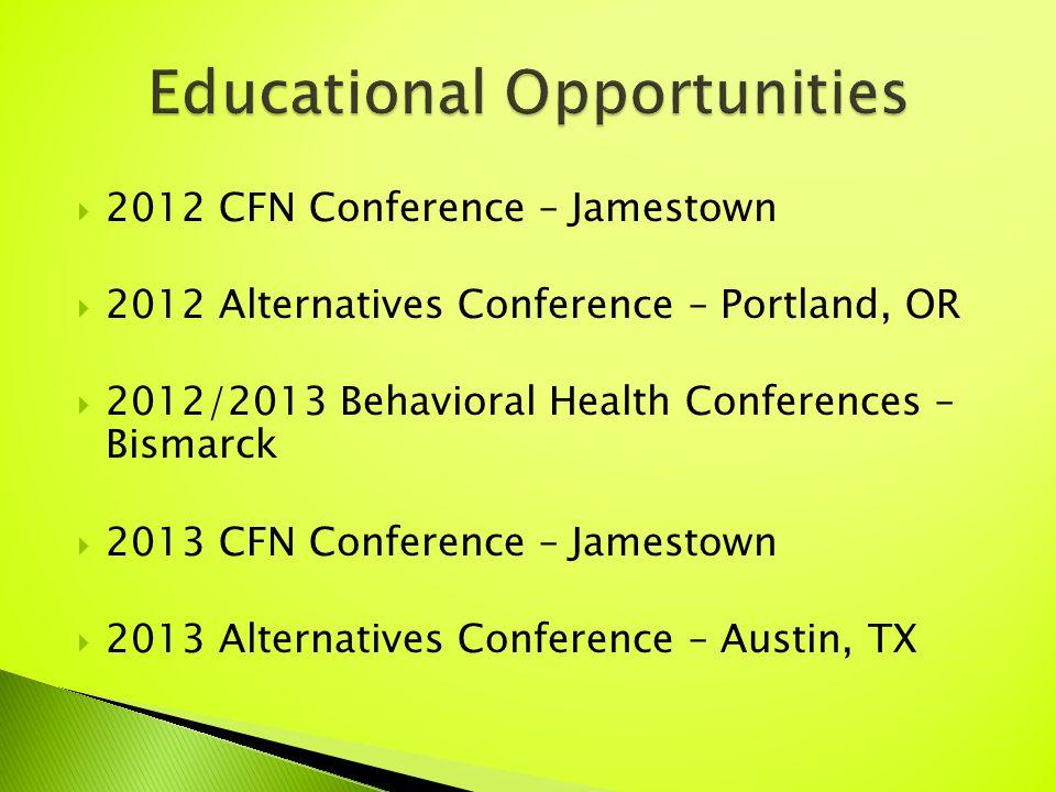  2012 CFN Conference – Jamestown  2012 Alternatives Conference – Portland, OR  2012/2013 Behavioral Health Conferences – Bismarck  2013 CFN Conference – Jamestown  2013 Alternatives Conference – Austin, TX