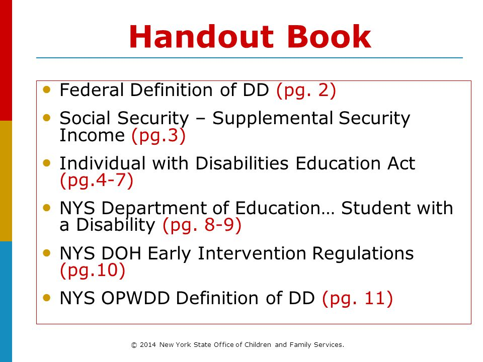 Handout Book Federal Definition of DD (pg.