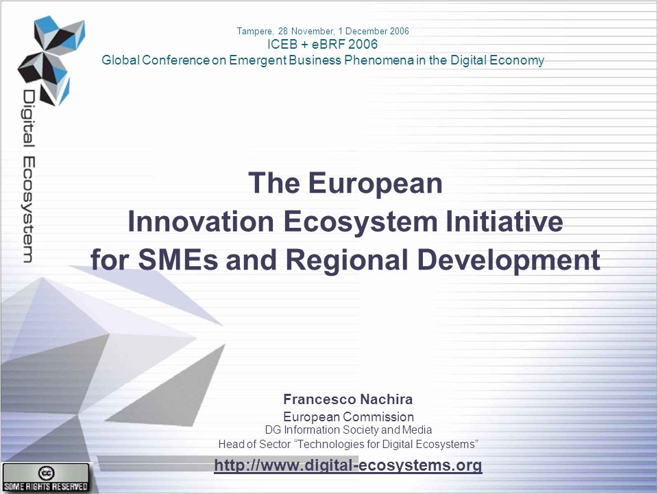 Francesco Nachira European Commission DG Information Society and Media Unit D5 : ICT for Enterprise Networking ICEB + EBRF 2006 Tampere, 28/11 - 1/12, 2006 # 12 of 22 The range of possible behaviours of a system is determined by its structure.