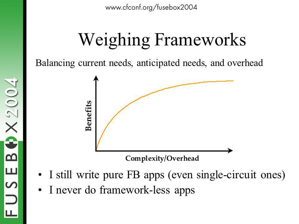 Weighing Frameworks I still write pure FB apps (even single-circuit ones) I never do framework-less apps Balancing current needs, anticipated needs, and overhead