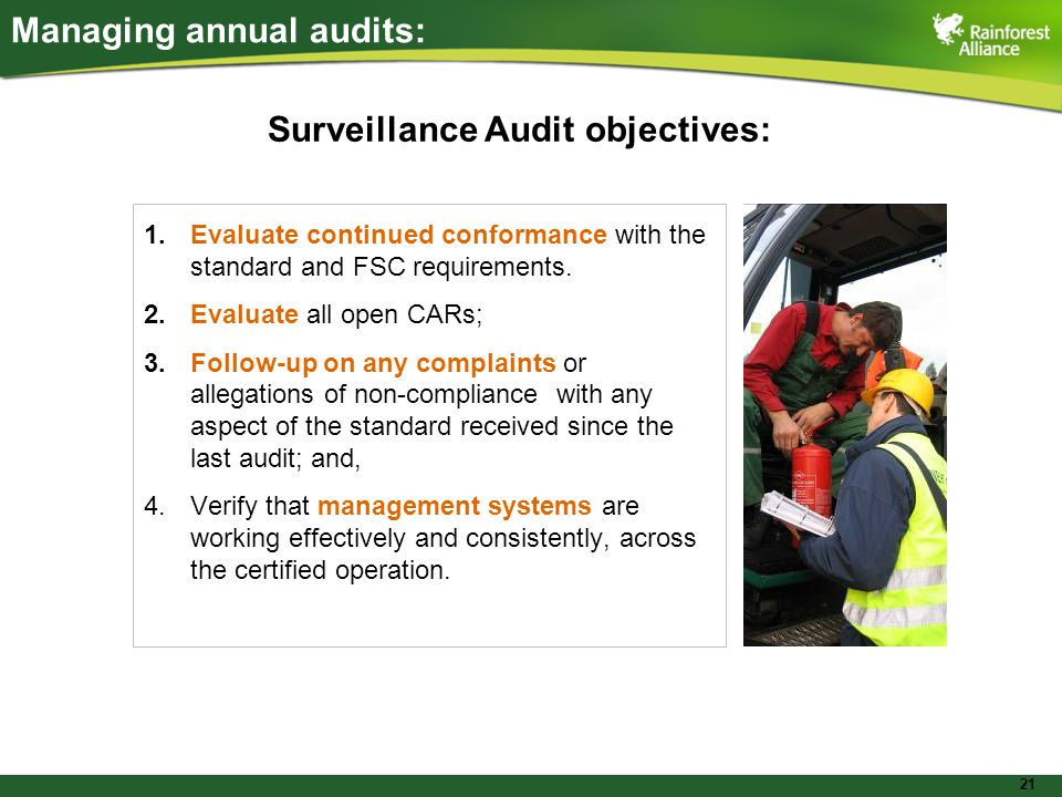 21 Managing annual audits: 1.Evaluate continued conformance with the standard and FSC requirements.