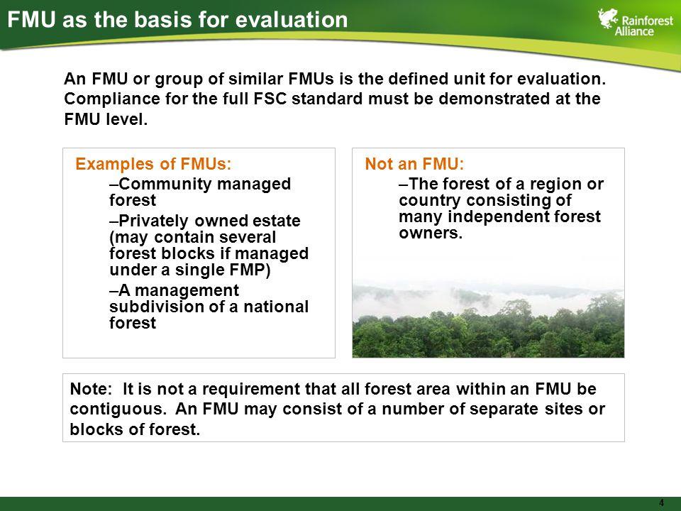 4 FMU as the basis for evaluation An FMU or group of similar FMUs is the defined unit for evaluation.