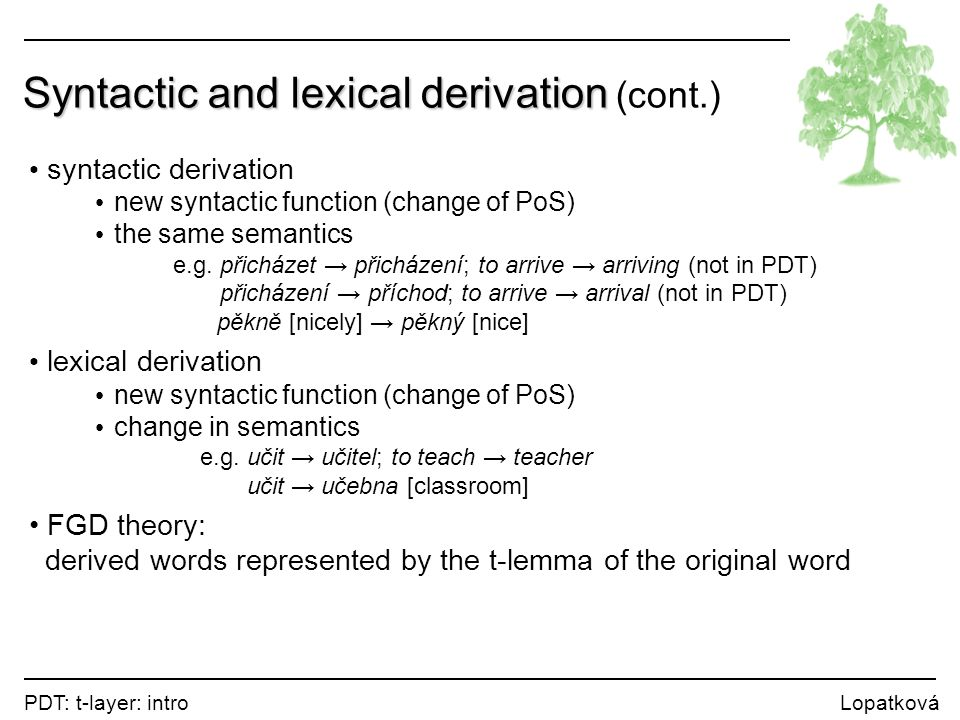 PDT: t-layer: intro Lopatková Syntactic and lexical derivation Syntactic and lexical derivation (cont.) syntactic derivation new syntactic function (change of PoS) the same semantics e.g.