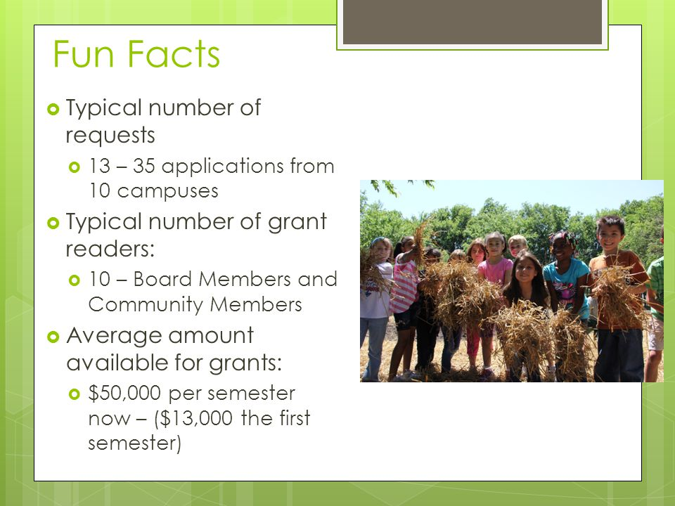 Fun Facts  Typical number of requests  13 – 35 applications from 10 campuses  Typical number of grant readers:  10 – Board Members and Community Members  Average amount available for grants:  $50,000 per semester now – ($13,000 the first semester)