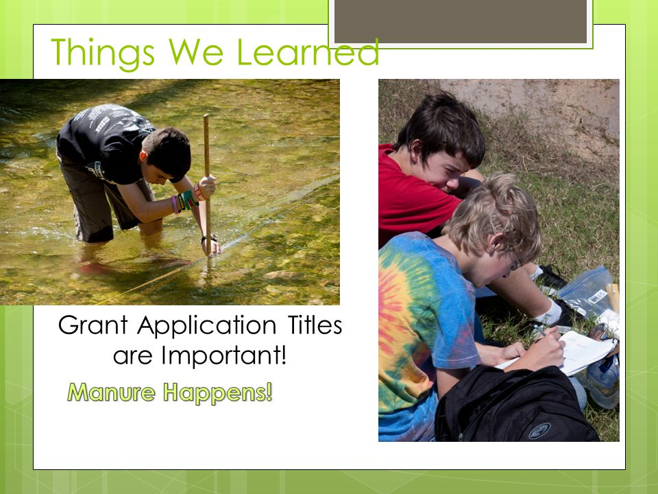 Things We Learned Grant Application Titles are Important!