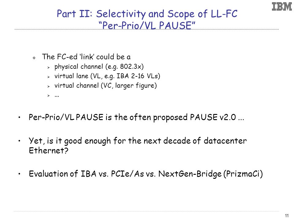 11 Part II: Selectivity and Scope of LL-FC Per-Prio/VL PAUSE  The FC-ed 'link' could be a  physical channel (e.g.
