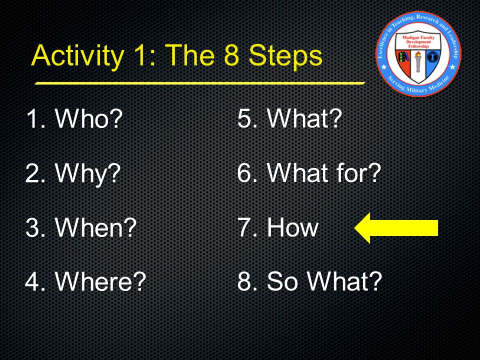 Activity 1: The 8 Steps 5. What? 6. What for? 7. How 8. So What? 1. Who? 2. Why? 3. When? 4. Where?