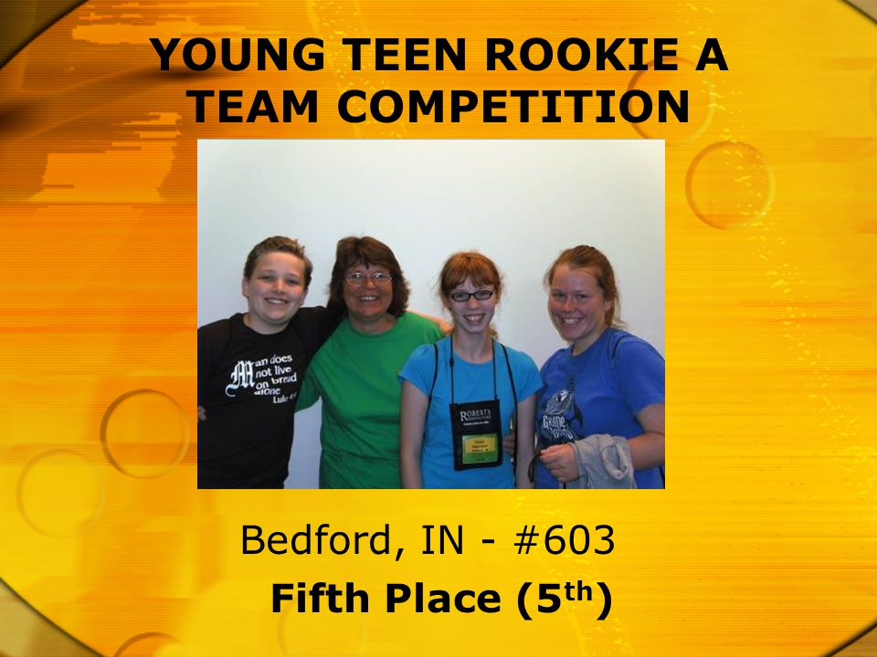 Fifth Place (5 th ) Bedford, IN - #603 YOUNG TEEN ROOKIE A TEAM COMPETITION
