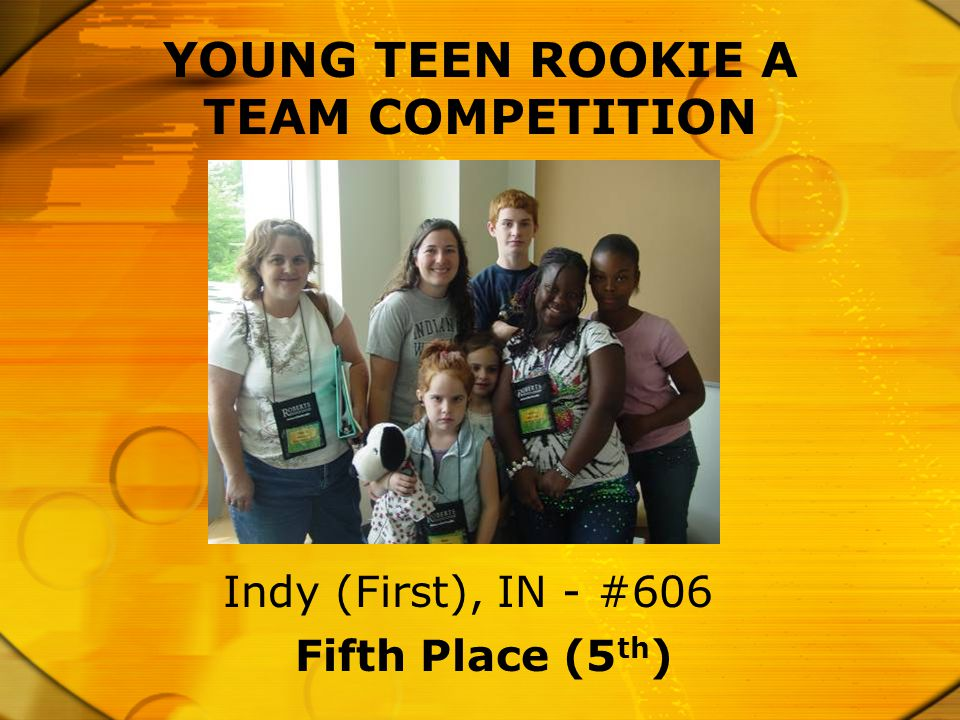 Fifth Place (5 th ) Indy (First), IN - #606 YOUNG TEEN ROOKIE A TEAM COMPETITION