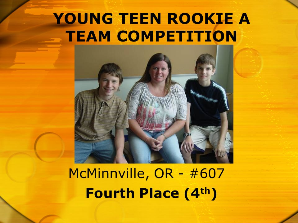 YOUNG TEEN ROOKIE A TEAM COMPETITION Fourth Place (4 th ) McMinnville, OR - #607