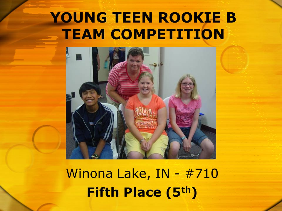 YOUNG TEEN ROOKIE B TEAM COMPETITION Fifth Place (5 th ) Winona Lake, IN - #710