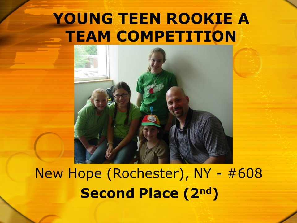 YOUNG TEEN ROOKIE A TEAM COMPETITION Second Place (2 nd ) New Hope (Rochester), NY - #608
