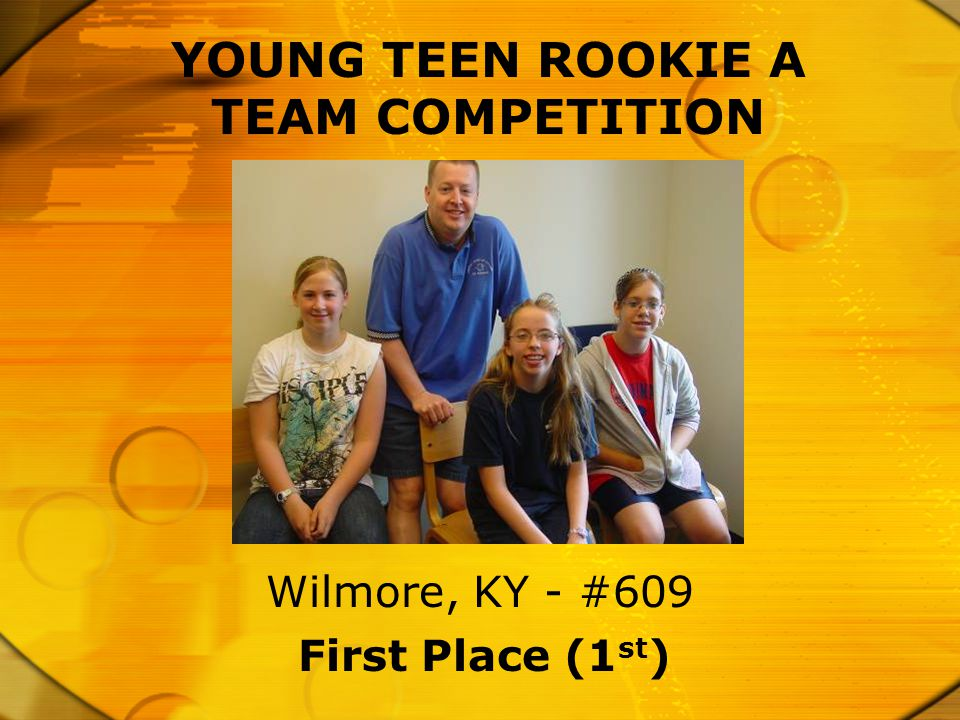 YOUNG TEEN ROOKIE A TEAM COMPETITION First Place (1 st ) Wilmore, KY - #609