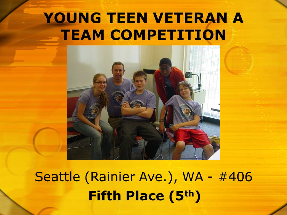 Fifth Place (5 th ) Seattle (Rainier Ave.), WA - #406 YOUNG TEEN VETERAN A TEAM COMPETITION