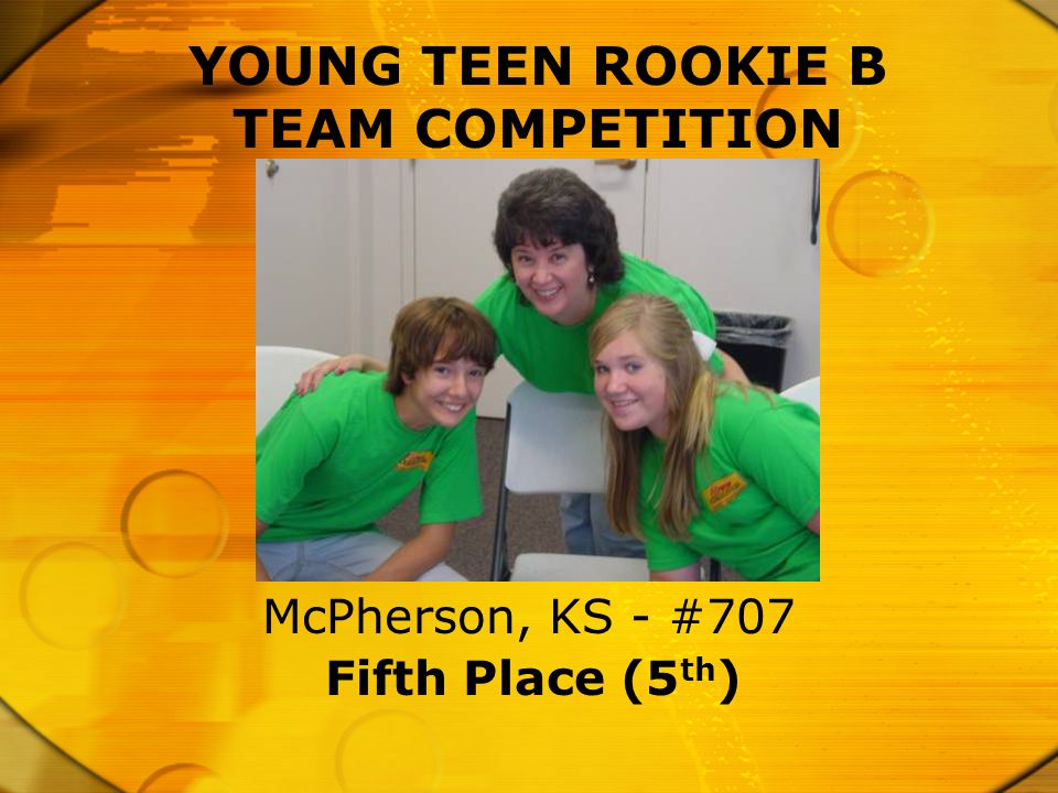 YOUNG TEEN ROOKIE B TEAM COMPETITION Fifth Place (5 th ) McPherson, KS - #707