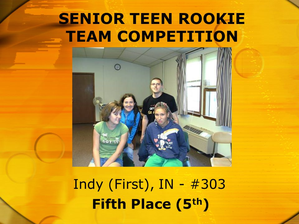 SENIOR TEEN ROOKIE TEAM COMPETITION Fifth Place (5 th ) Indy (First), IN - #303