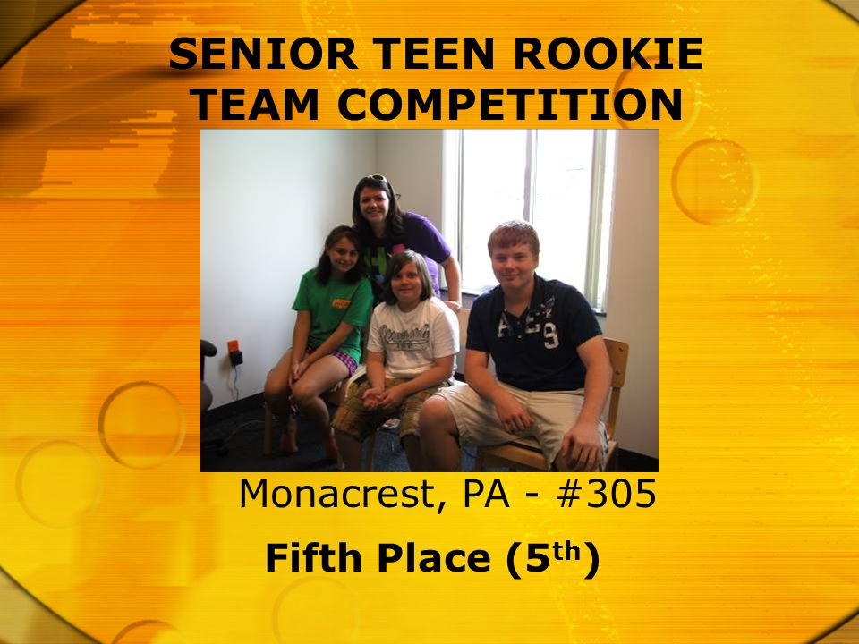 SENIOR TEEN ROOKIE TEAM COMPETITION Fifth Place (5 th ) Monacrest, PA - #305