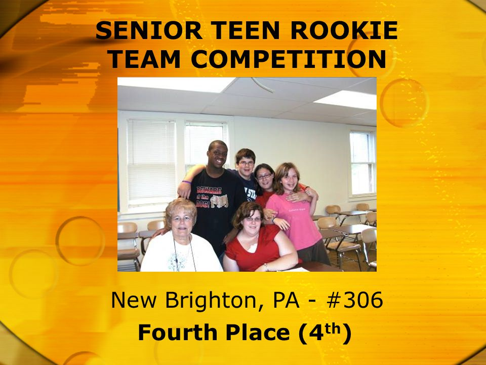 SENIOR TEEN ROOKIE TEAM COMPETITION Fourth Place (4 th ) New Brighton, PA - #306