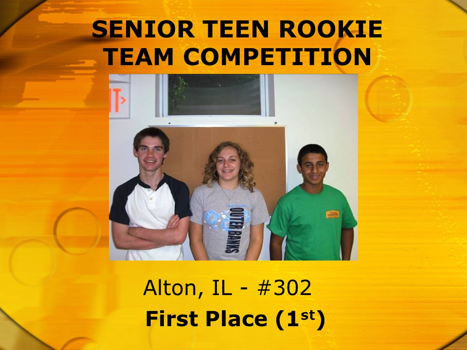 SENIOR TEEN ROOKIE TEAM COMPETITION First Place (1 st ) Alton, IL - #302
