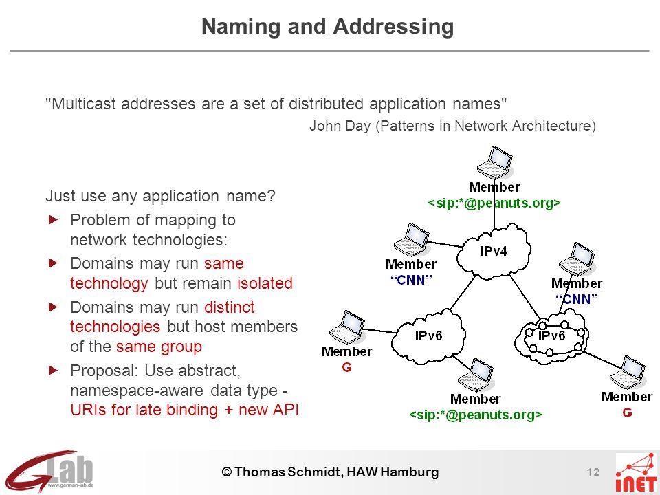 12 © Thomas Schmidt, HAW Hamburg Naming and Addressing