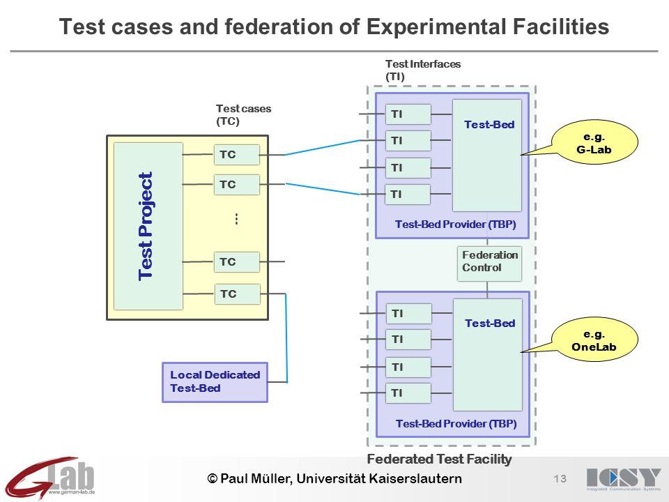 13 © Paul Müller, Universität Kaiserslautern Test cases and federation of Experimental Facilities Federated Test Facility Federation Control Test-Bed