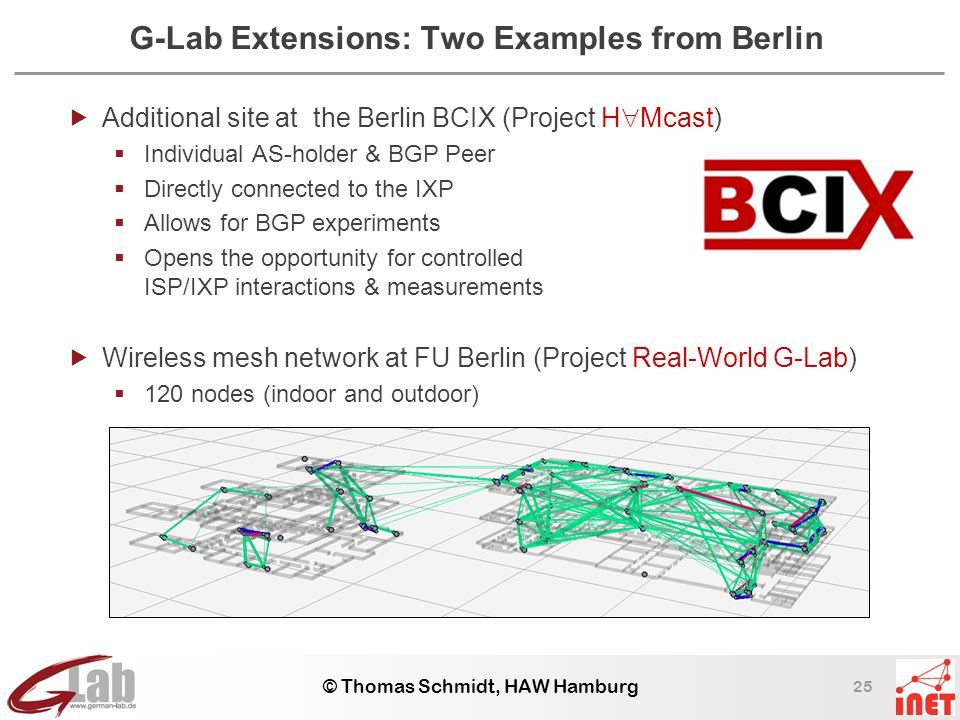 25 © Thomas Schmidt, HAW Hamburg G-Lab Extensions: Two Examples from Berlin  Additional site at the Berlin BCIX (Project H  Mcast)  Individual AS-holder & BGP Peer  Directly connected to the IXP  Allows for BGP experiments  Opens the opportunity for controlled ISP/IXP interactions & measurements  Wireless mesh network at FU Berlin (Project Real-World G-Lab)  120 nodes (indoor and outdoor)