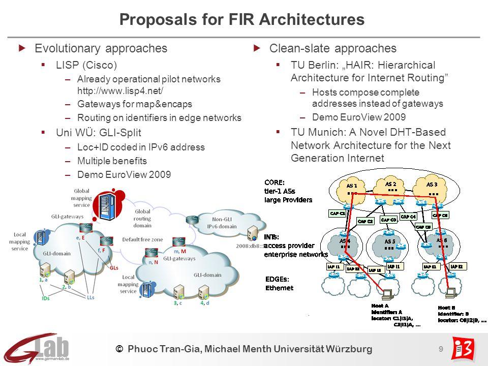 9 © Phuoc Tran-Gia, Michael Menth Universität Würzburg Proposals for FIR Architectures  Evolutionary approaches  LISP (Cisco) –Already operational p