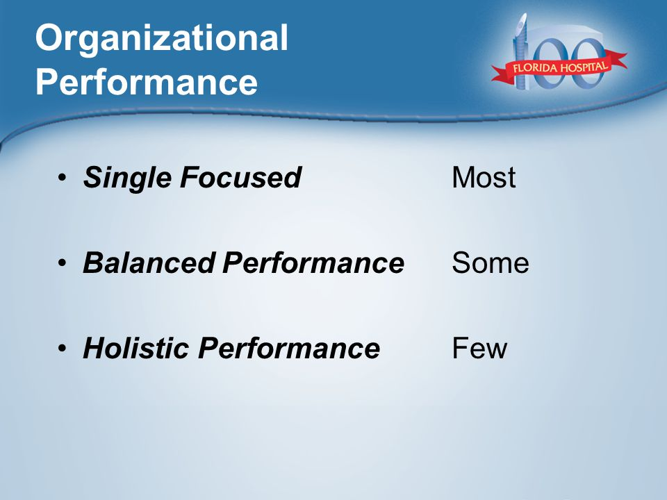 Organizational Performance Single Focused Balanced Performance Holistic Performance Most Some Few