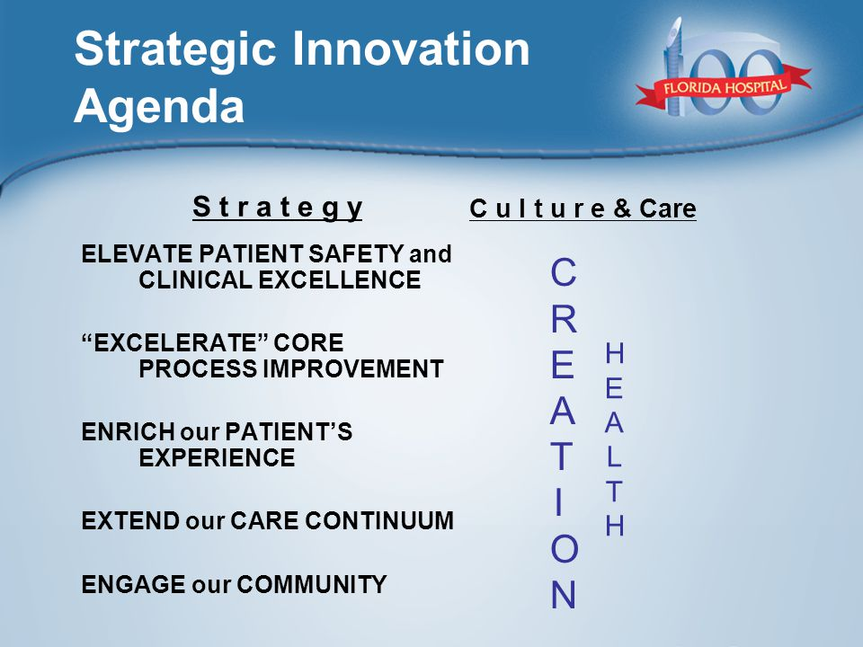Strategic Innovation Agenda ELEVATE PATIENT SAFETY and CLINICAL EXCELLENCE EXCELERATE CORE PROCESS IMPROVEMENT ENRICH our PATIENT'S EXPERIENCE EXTEND our CARE CONTINUUM ENGAGE our COMMUNITY CREATIONCREATION S t r a t e g y C u l t u r e & Care HEALTHHEALTH